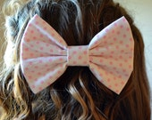 White Hair Bows with Colored Polka Dots - 6 Color Options