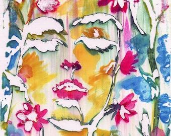 Flower Face - Original watercolor illusion painting