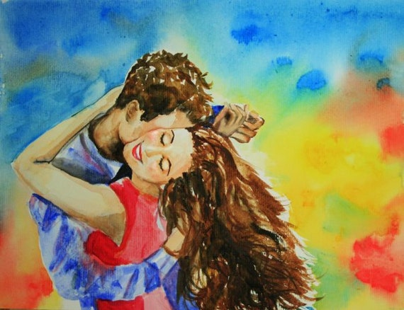 Happy Dance Original Watercolor Painting 9 x 12
