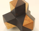 Augmented Four Corners in East Indian Rosewood & Canarywood - interlocking geometric puzzle