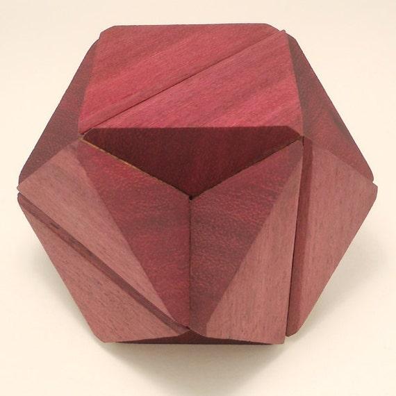 Two Woods purpleheart & Black Walnut - interlocking geometric puzzle