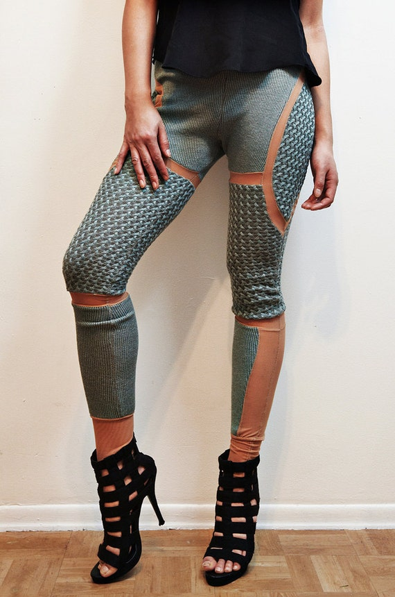 Light Blue Sweater Cut Out Pants Leggings - Small