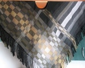 Poncho green, white, beige gray black hand made - woven cloth