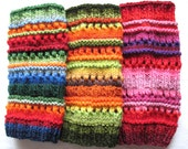 CHRISTMAS SALE Leg Warmers Striped Multicolored Blue Red Green Yellow Orange Black Christmas Gaiters Handknitted - Initasworks