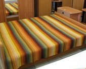 "Twin Double Bed Quilt green brown orange tones 87"" x 78"" hand woven warm"