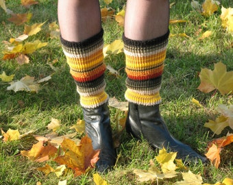 Boot Cuff Boot Toppers Leg Warmers Boot Socks Green Yellow Brown Brick Cable Striped  Multicolored