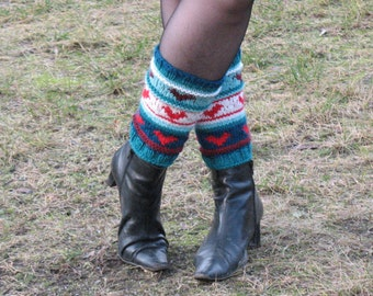 Leg Warmers Heart Blue Green White Red Burgundy Striped with , Gaiters Hand knitted