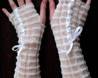 White Fingerless Gloves lace Long Arm Warmers for Wedding and Soft Linen, Acrylic