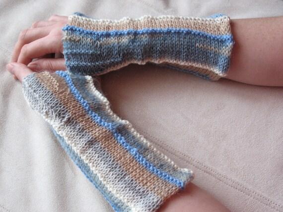 Fingerless Mittens Gloves White Azure Blue Beige Gray Brown Multicolored