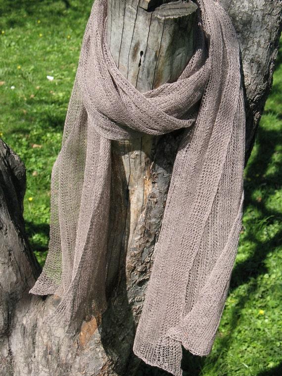 Linen Scarf Natural Grey Organic Linen Women's Scarf Pure Linen Spring Clothing