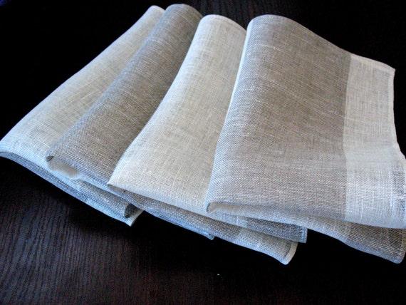"""Linen Napkin Natural White Gray set of 2 - Flax - 17.7"""" x 11.4"""" size"""
