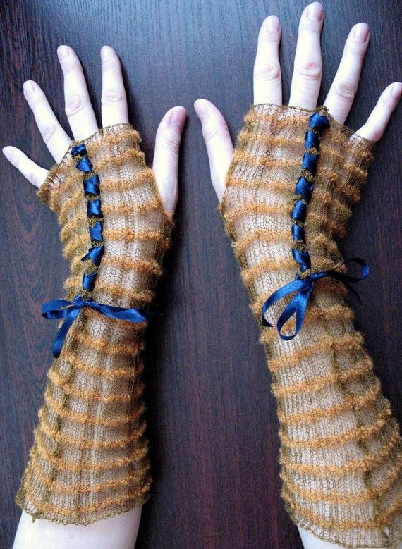 Lace Fingerless Gloves Mittens brown beige Long Arm Warmers Soft Linen, Acrylic