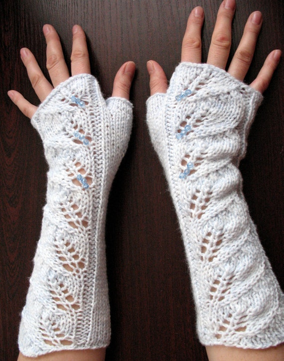 Long Fingerless Gloves White Light Azure Arm Warmers, Acrylic with Pearl