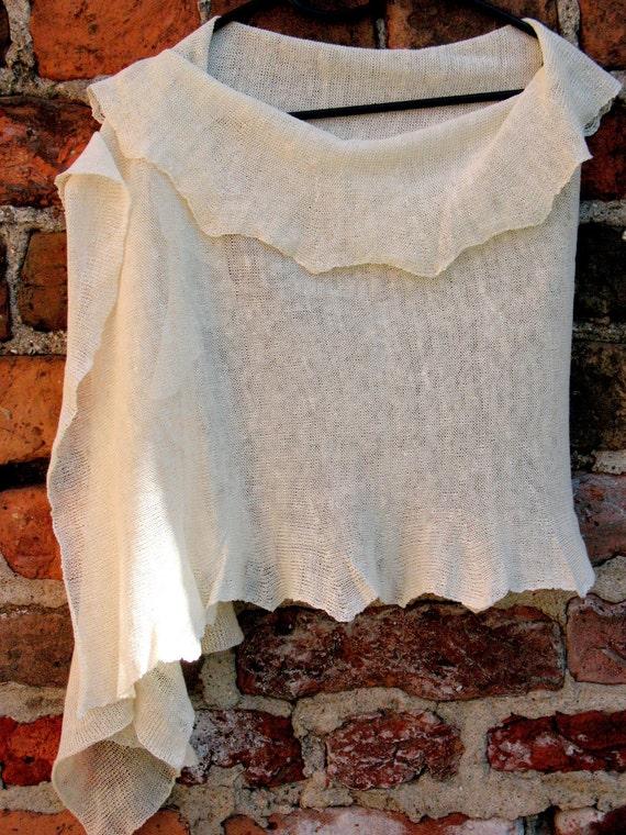 Linen Scarf Shawl Wrap Stole white Light