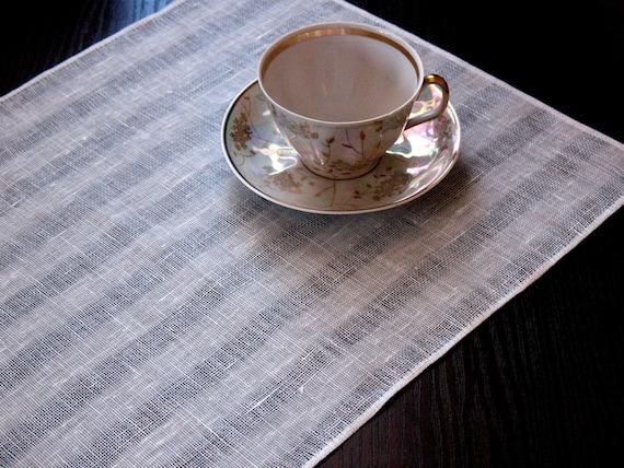 "Linen Napkin White set of 4 - Flax 17.3"" x12.5"" size"
