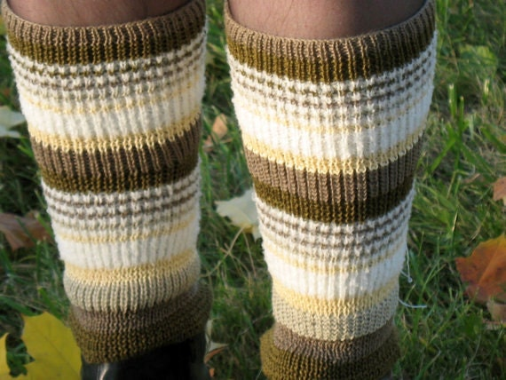 leg warmers multicolored green yellow brown white gray gaiters striped Handknitted