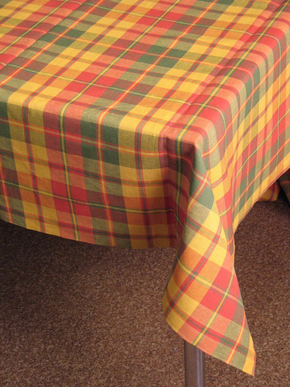 Checkered Cloth Tablecloth : Linen Tablecloth Checked Green Red Orange Yellow by Initasworks