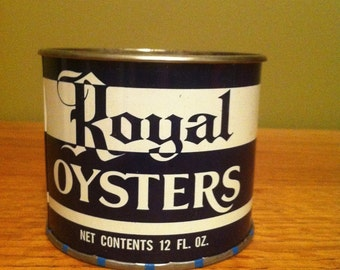 Vintage Royal oyster tin can and lid NJ New Jersey