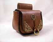Handmade Brown Medieval or Steampunk Leather Belt Pouch Bag with brass accents SCA LARP