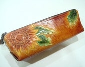 Handtooled Sun Flower leather pencil case ( Brown )