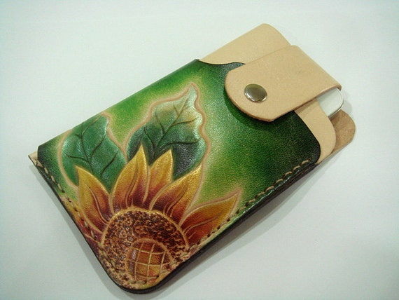 Sunflower iPhone 4S leather case ( Green )