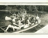 Teenage Girls in Swimsuits & Canoes - Summer Camp - Original Photo 1940s