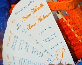 5 Petal Fan Wedding Programs