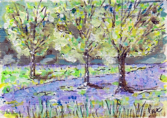 ACEO Ardgartan Bluebells Original Painting Acrylic Water Colour Scotland