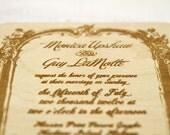 Vintage Inspired Framed Engraved Wooden Wedding Invitation