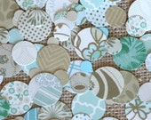 Vintage Inspired Wedding Table Confetti - Mint Green and Linen Mixed Print - Table Decoration or Inside Invitations - 12 oz Bag