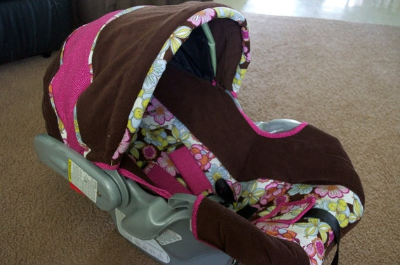 graco infant car seat cover brown and pink by yellowstardesigns. Black Bedroom Furniture Sets. Home Design Ideas