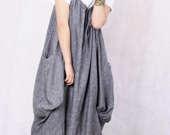 Leap of the heart/ Lovely dark gray linen dress