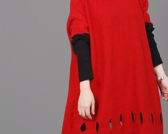 red /blue Loose Oversize Dress/ lapel cotton Big sweater dress