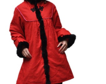 red Loose fitting padded coat