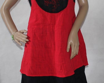 Women Summer asymmetric dress in Red