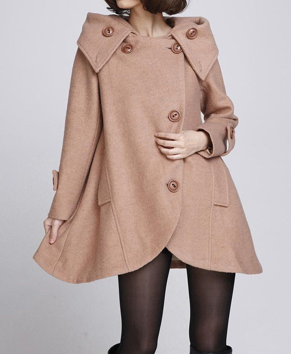Camel cloak wool coat Hooded Cape women Winter wool coat