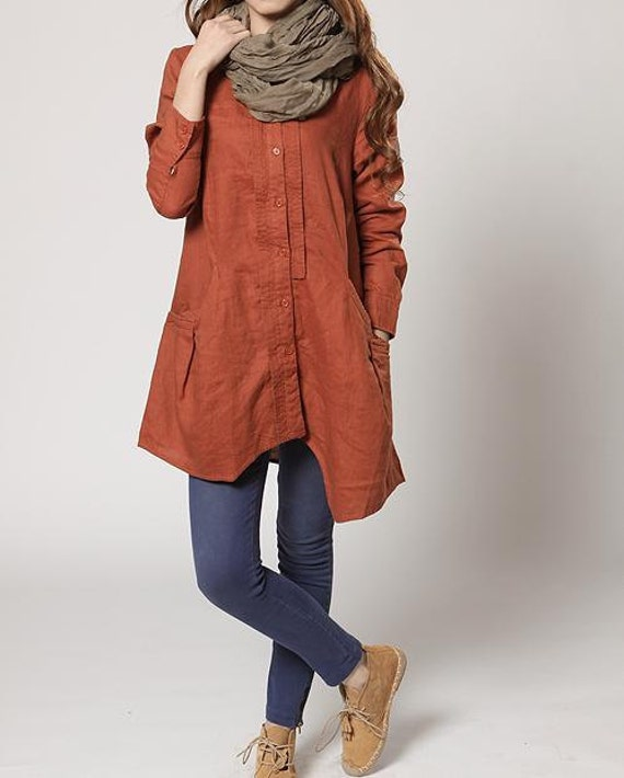 autumn orange Linen Asymmetry single breasted long shirt