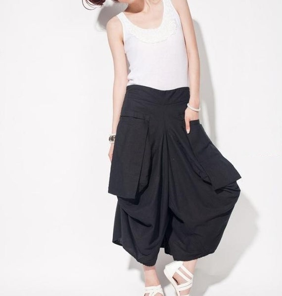 women linen Wide leg pants/ asymmetric Large pocket women trousers