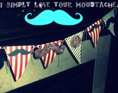 HANDMADE moustache pennant banner FATHER'S DAY little man First Birthday baby shower