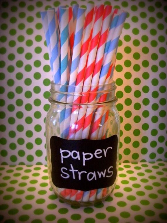 20 SUMMER CARNIVAL retro paper straws circus party vintage superhero party