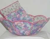 Reversible Fabric Bowl - Lavender Floral Large Scalloped Reversible Fabric Bread Bowl w/ napkin