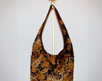 Fabric Handbag - Brown and Gold Floral Quilted Hobo Purse