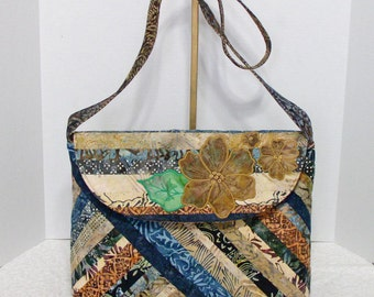 Fabric Handbag Batik - Lilianna Shades of Brown Quilted Cotton Batik Purse