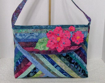 Fabric Handbag Batik - Lilianna Shades of BlueQuilted Cotton Batik Purse