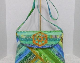 Fabric Handbag Batik - Karalee Shades of Green Quilted Cotton Batik Medium Size Purse