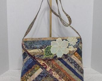 Fabric Handbag Batik - Karalee Shades of Brown Cotton Batik Quilted Purse II
