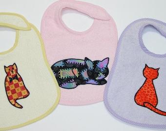 Girl Toddler Bib Set - Cats - 3 Appliqued Terrycloth Toddler Bibs for girls