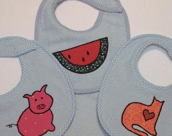 Infant Baby Boy Bib Set - Watermelon Pink Pig Cat - 3 Appliqued Terrycloth Infant Bibs and 1 Burp cloth for boys
