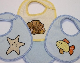 Infant Baby Boy Bib Set - Seashell Starfish Goldfish - 3 Appliqued Terrycloth Infant Bibs and 1 Burp cloth for boys