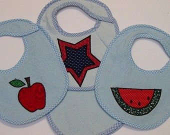 Infant Baby Boy Bib Set - Apple Star Watermelon- 3 Appliqued Terrycloth Infant Bibs and 1 Burp cloth for boys